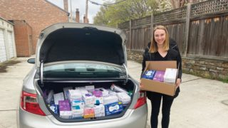 allison rooney with medical supplies