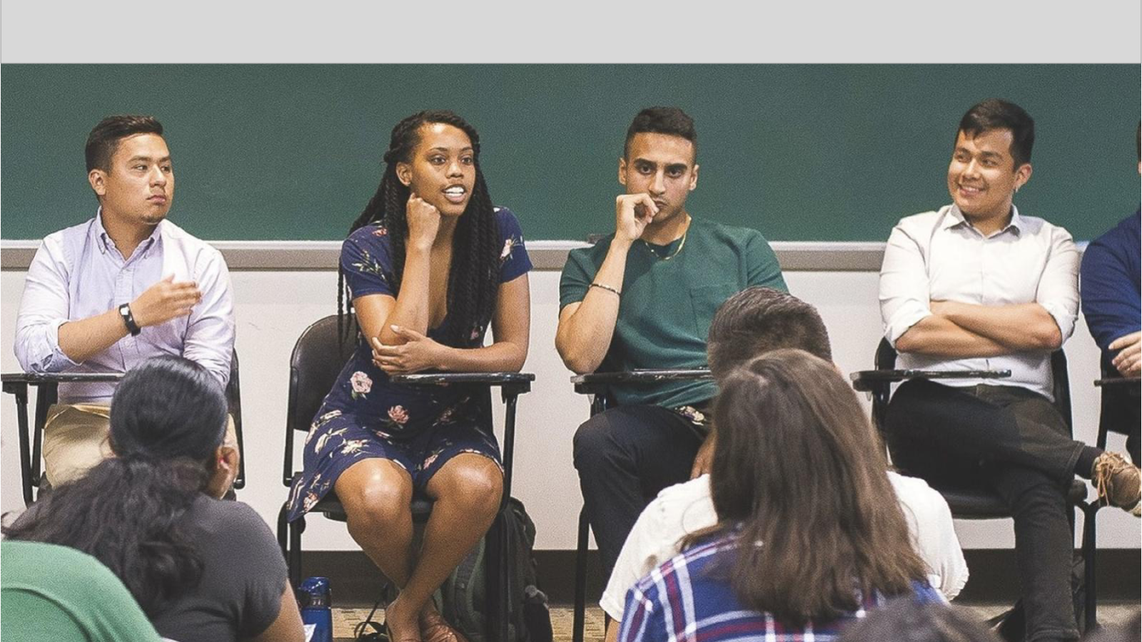 Juan Moreno (F'19), Eriss Donaldson (C'19), Hash Singh (C'20), and Diego Tum-Monge (C'19), share insight about the GU student experience during the Transitioning to College summer program.